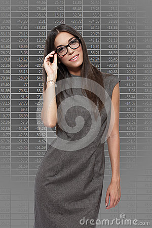 Businesswoman with numbers