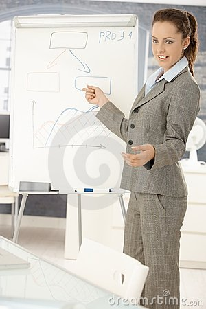 Businesswoman office presenting young