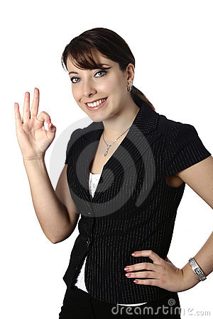 Businesswoman with OK gesture