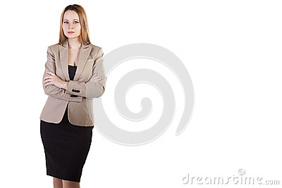 Businesswoman over white background with copyspace available