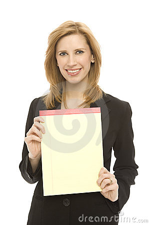 Businesswoman and pad of paper