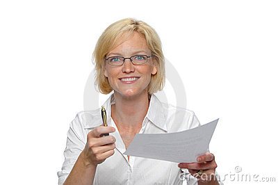 Businesswoman with paper and p