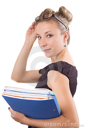 Businesswoman with papers and glasses
