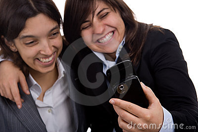 Businesswoman with partner laughing