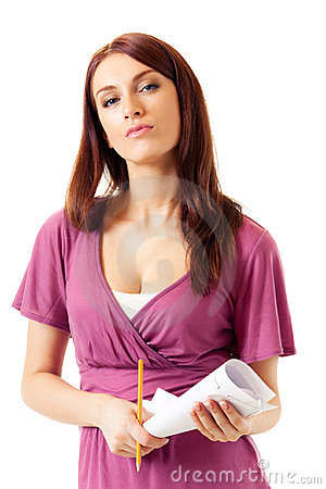 Businesswoman with pensil and plan