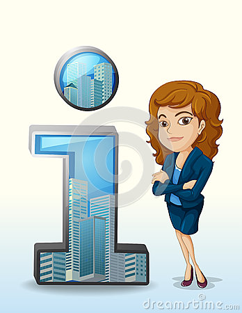 A businesswoman with a pleasing personality beside the number on