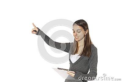 Businesswoman point upward success copy space