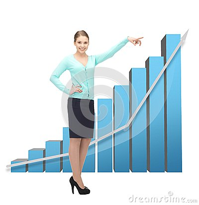 Free Businesswoman Pointing At Big 3d Chart Royalty Free Stock Photo - 38232875