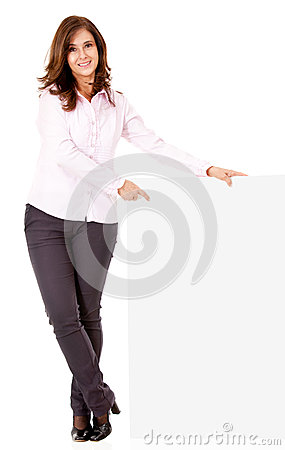 Businesswoman pointing at a banner