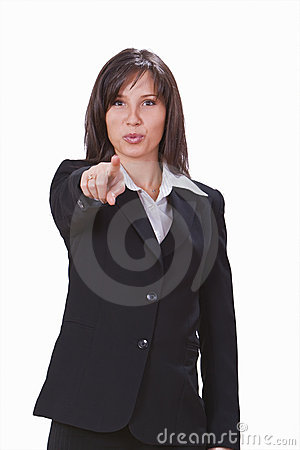Businesswoman pointing the finger
