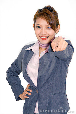 Businesswoman pointing forward