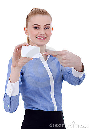 Businesswoman pointing at her business card
