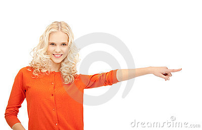 Businesswoman Pointing Her Finger Stock Photos - Image: 21580043