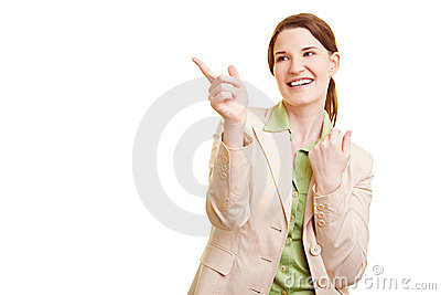 Businesswoman pointing to the left