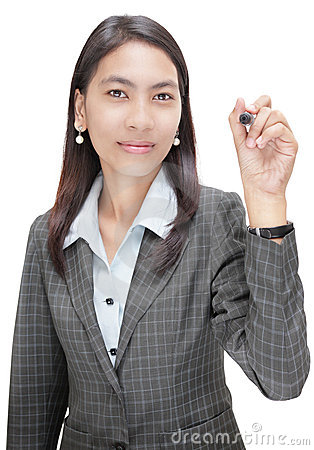 Businesswoman pointing w marker