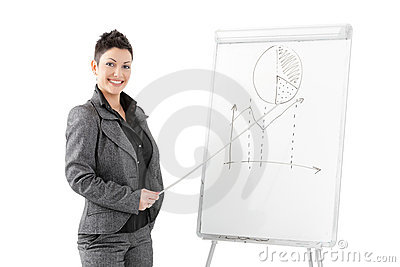 Businesswoman pointing at whiteboard
