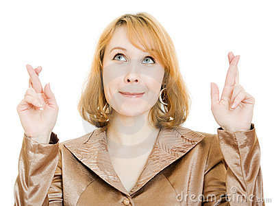 Businesswoman points his finger upward.