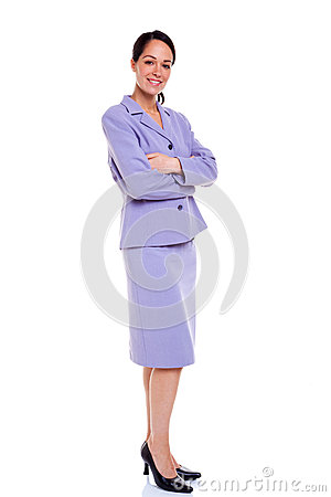 Businesswoman portrait arms folded lilac suit