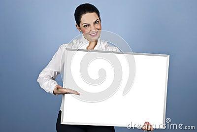 Businesswoman presentation on blank banner