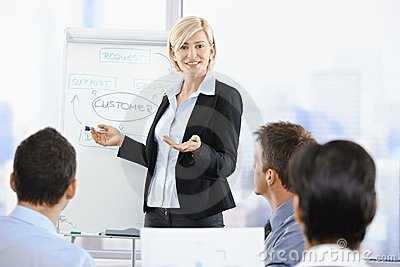 Businesswoman presenting