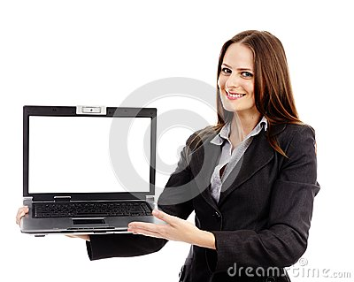 Businesswoman presenting a laptop