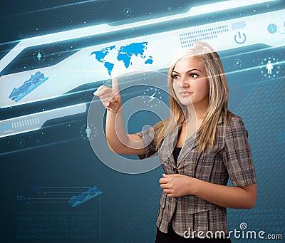Businesswoman pressing high tech modern buttons