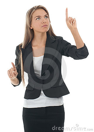 Businesswoman pressing the touchscreen button