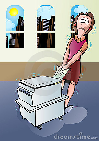 Businesswoman pull a paper jammed