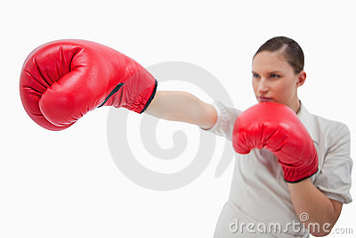 Businesswoman punching something