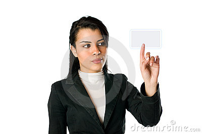 Businesswoman pushing a button