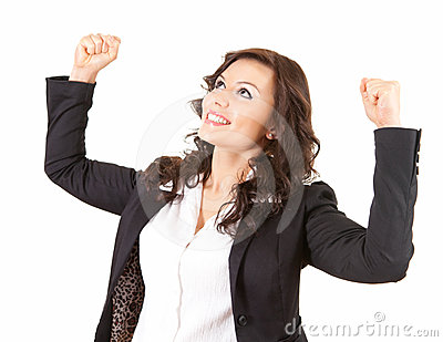 Businesswoman with raised fists