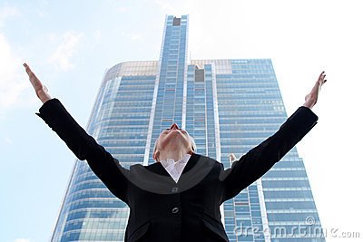 Businesswoman Raising Arms