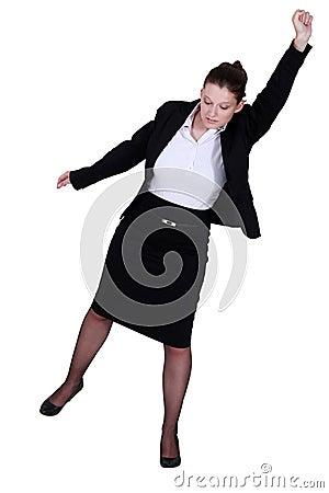 A businesswoman raising her fist