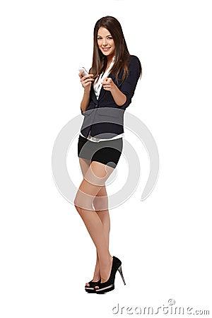 Businesswoman read her short message