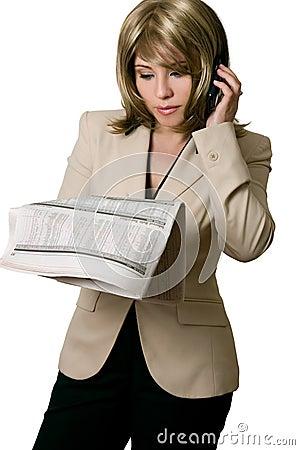 Businesswoman reading Financial news