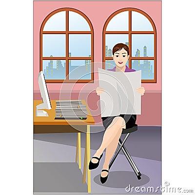 Businesswoman reading paper