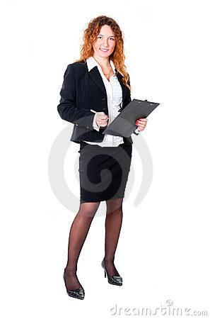 Businesswoman ready for write