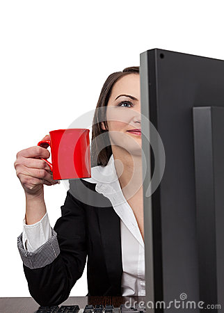 Businesswoman with a red cup of coffee