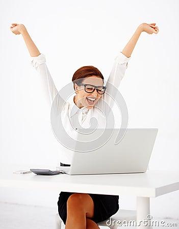 Businesswoman rejoicing