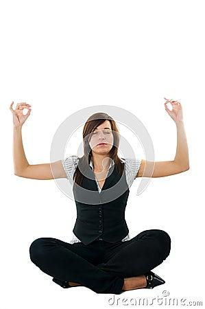 Businesswoman relaxing, meditating