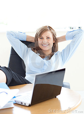 Businesswoman relaxing in the office
