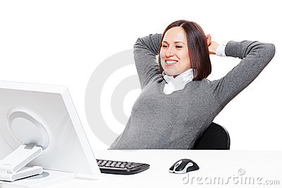 Businesswoman relaxing at workplace