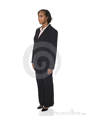 Woman in Business Suit Facing Left