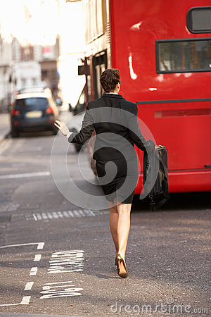 Free Businesswoman Running For Bus Royalty Free Stock Images - 25429979