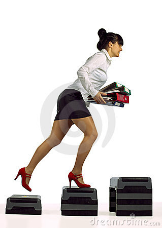 Businesswoman running up with folder documents