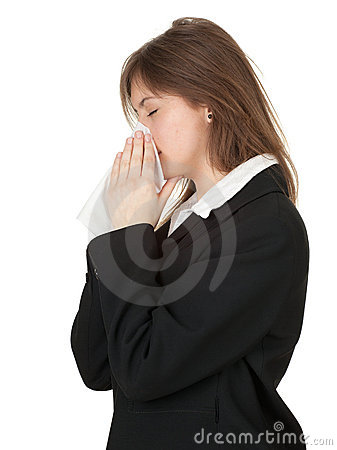 Businesswoman with runny nose and handkerchief