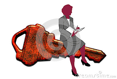 Businesswoman sat on key