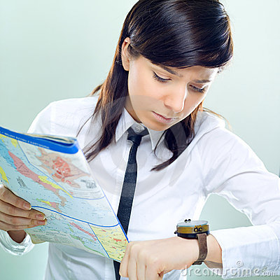 Businesswoman searching the right way