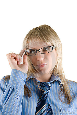 Businesswoman Set The Glasses Straight Stock Photography - Image: 9828282