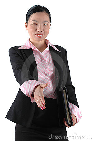 Businesswoman shaking hand
